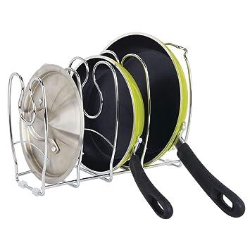 MetroDecor mDesign Organizador de sartenes - Elegantes Accesorios para Muebles de Cocina - Estantería para Cocina para organizar Platos, Tapas de ollas o ...