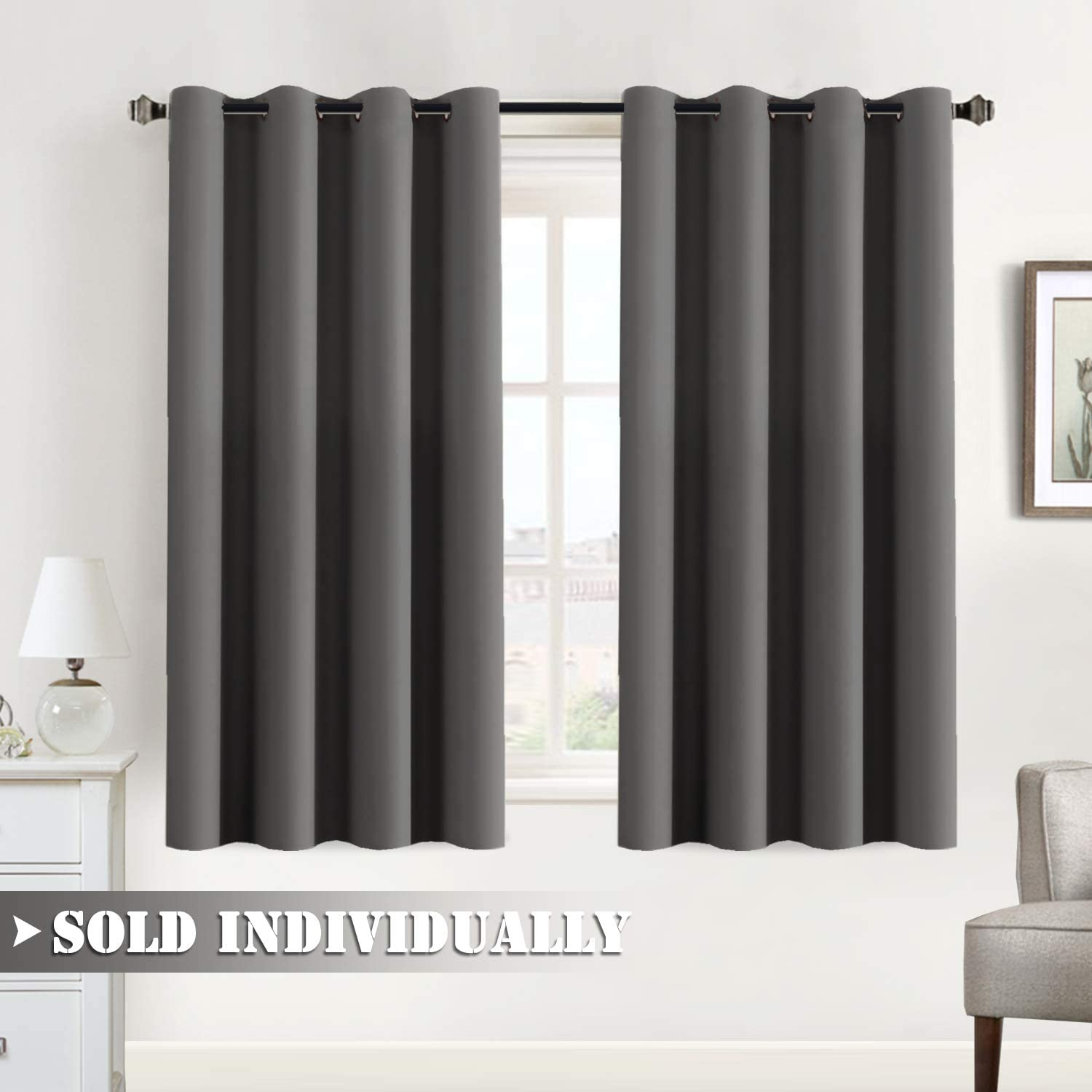 Flamingo P Blackout Curtain for Bedroom/Living Room Thermal Insulated Energy Efficient Window Treatment Curtain Drapes Draperies Soft Thick Smooth Room Darkening Single Panel 52