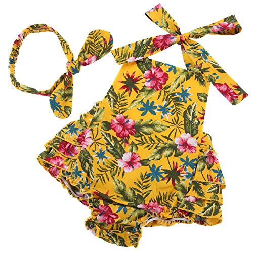 Fubin Baby Girl's Floral Print Ruffles Romper Summer Clothes With Headband Yellow Flower  L-(24M)