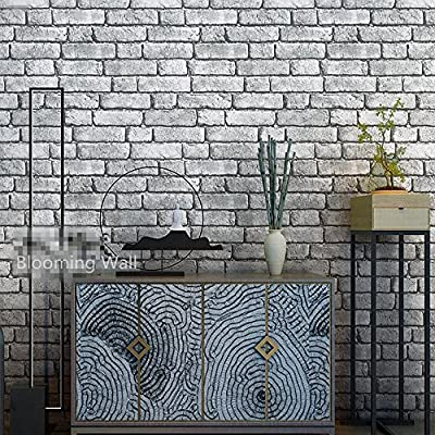 Blooming Wall Textured Brick Wallpaper Wall paper for Livingroom Bedroom,20.8 In32.8 Ft=57 Sq.ft,Gray