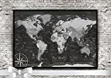 World Map Push Pin - A Push Pin Travel Map in Black and White - Small Edition