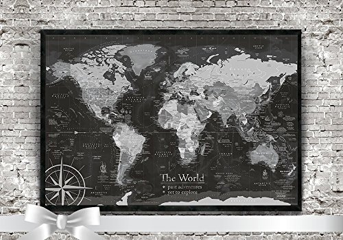World Map Push Pin - A Push Pin Travel Map in Black and White - Small Edition by GeoJango