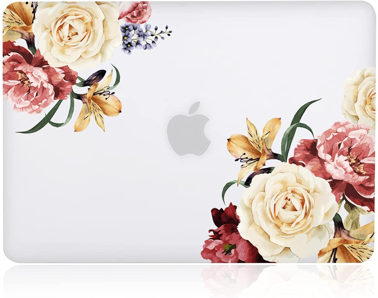 iDonzon Case for MacBook Air 13 inch (Model: A1466 & A1369, 2010-2017 Release), 3D Effect Matte Clear See Through Hard Case Cover Only Compatible MacBook Air 13.3 inch - Peony Flower