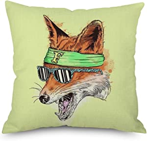 Throw Pillow Cover 18 x 18 Vivid Fox Lovely Animal Wears Sun Glasses Brown Spring Summer Home Decor Invisible Zipper Durable Decorative Cushion Cover Pillow Case Sofa Couch Bedroom Living Room