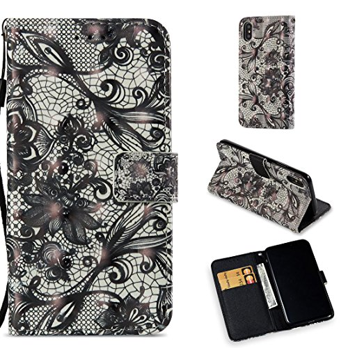 iPhone X Case,Pu Leather Kickstand Wallet Case with Inner Rubber Bumper Cover Full Protective Cover with Credit Card Holder Creative Birthday and Xmas Gift Compatible Apple iPhone X -Flower Black