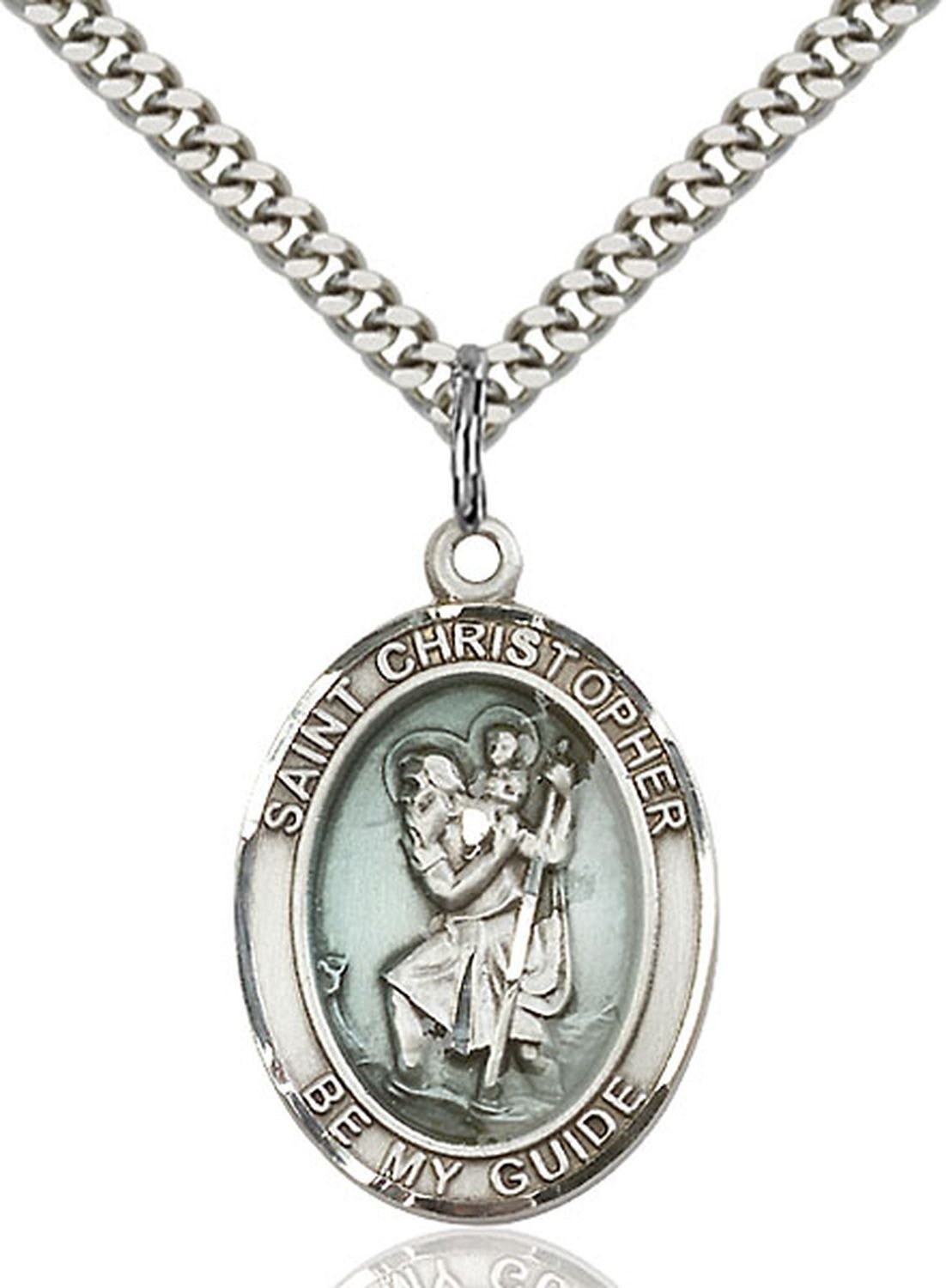 Pewter St. Christopher Pendant 1 x 3/4 Inches with Silver Plated Heavy Curb Chain