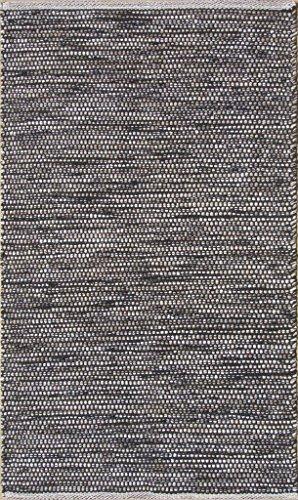 Chandra Rugs Tanya Rectangular Handwoven Flatweave Cotton Rug - Black/Beige - 5' x 7'6