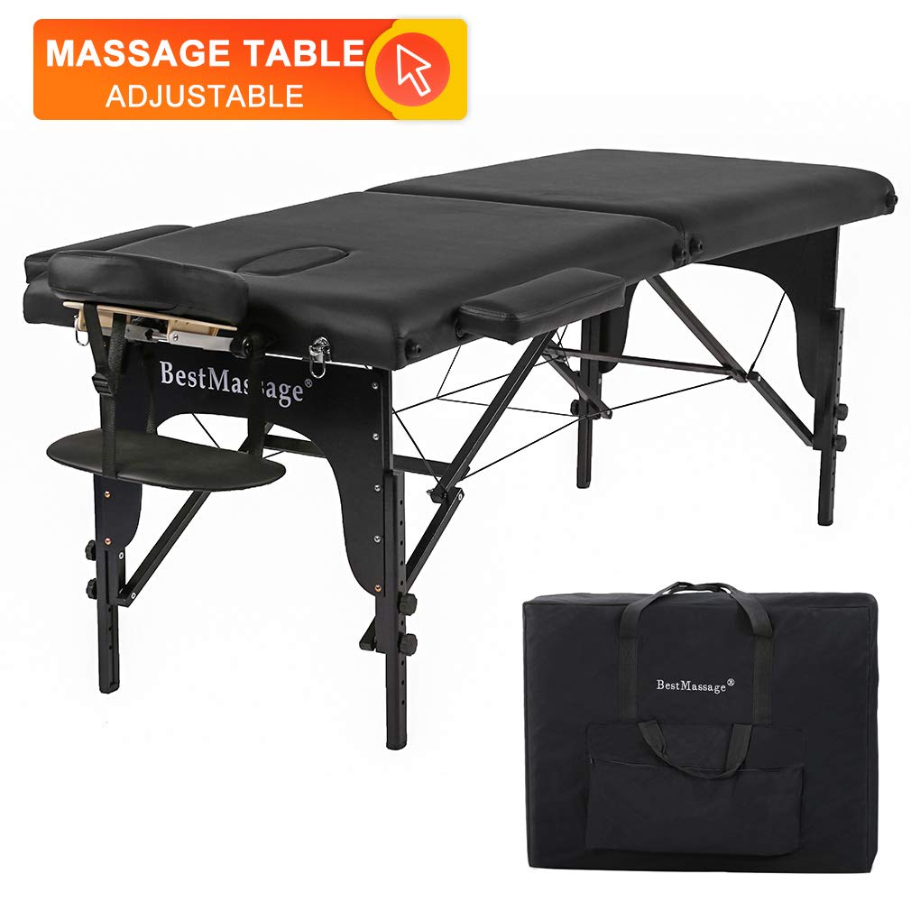 BestMassage 73'' PU Portable 2'' Padding Folding Massage Table w/Free Carry Case Bed Spa Facial
