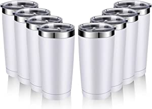 Amtidy 8 Pack 20oz Travel Mug with Lids, Stainless Steel Vacuum Double Wall Bulk Tumbler, Durable Insulated Coffe Cup with Splash Proof Sliding Lids for Home, Office, Party(White)