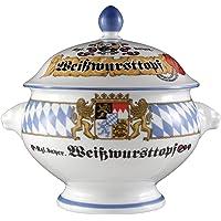 """Seltmann Weiden Löwenkopfterrine mit Deckel""""Compact Bayern"""", Hartporzellan, Blau/Weiß/Gelb/Rot"""