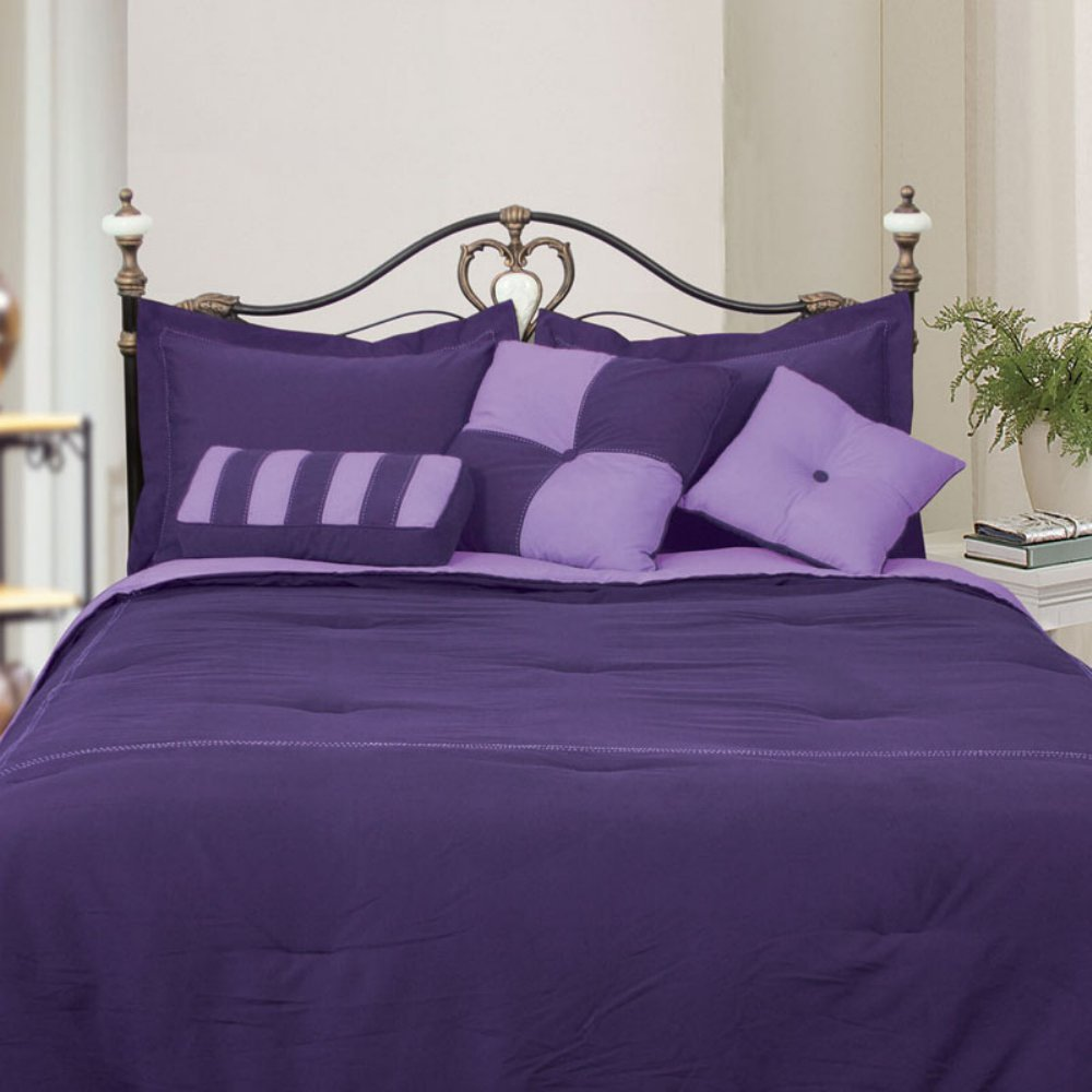LCM Home Fashions Microfiber Comforter Set, Queen, Purple/Lavender