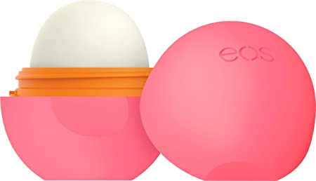 eos Super Soft Shea Sphere Lip Balm - Strawberry Peach   Deeply Hydrates and Seals in Moisture   Sustainably-Sourced Ingredients   0.25 oz