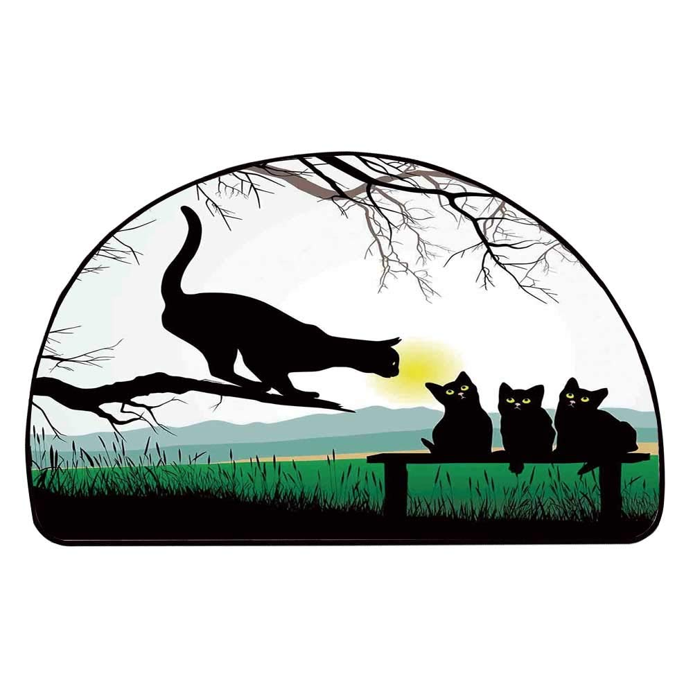 C COABALLA Cat Comfortable Semicircle Mat,Mother Cat on Tree Branch and Baby Kittens in Park Best Friends I Love My Kitty Graphic for Living Room,11.8'' H x 23.6'' L