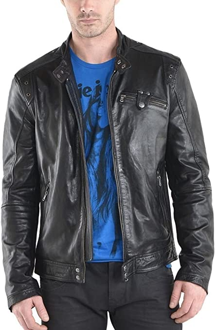 New Men Quilted Leather Jacket Soft Cow Leather Biker Bomber LFC753 XXL