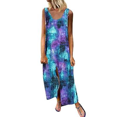 Wenini Women O-Neck Sleeveless Maxi Dress Tie Dye Printing Casual Cotton Maxi Dress: Sports & Outdoors