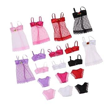 F Fityle 6 Sets Verano Playa Vestido de Baño Traje de Baño Bikini de Muñecas Pijamas