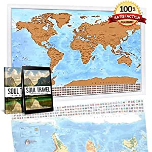 Scratch Off Laminated World Travel Map   Unique Personal Gift - XL 33 x 24in. Adventure Tracking Poster - GLOSSY Finish - Detail Cartography - Scratch Tool and eBook FREE Bonuses