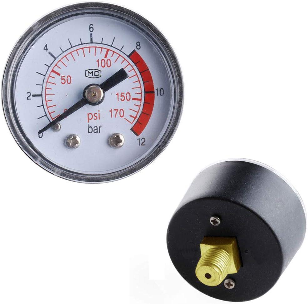 Medidor de presión de compresor de aire para fluido hidráulico neumático 0 – 12 bar/0 – 170 PSI