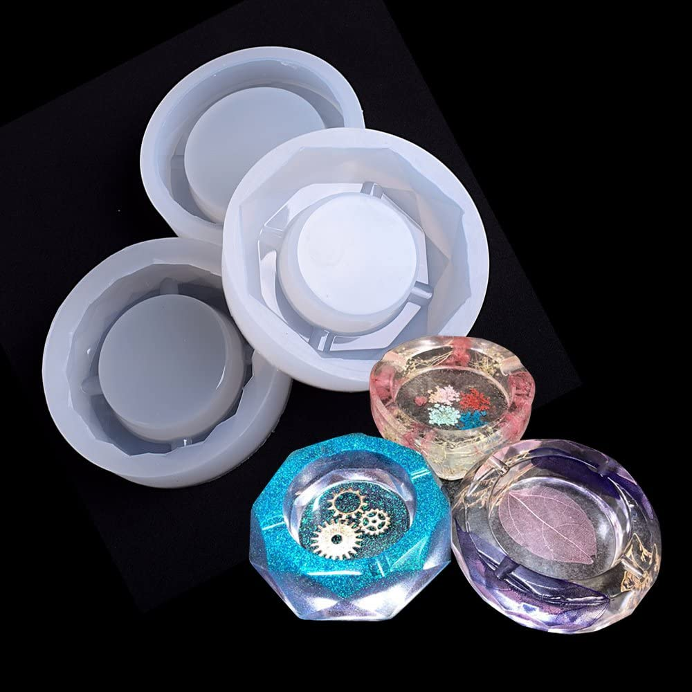 Resin Food Grade Silicone Mirror Ashtray Ashtray Silicone Mold Flower Container