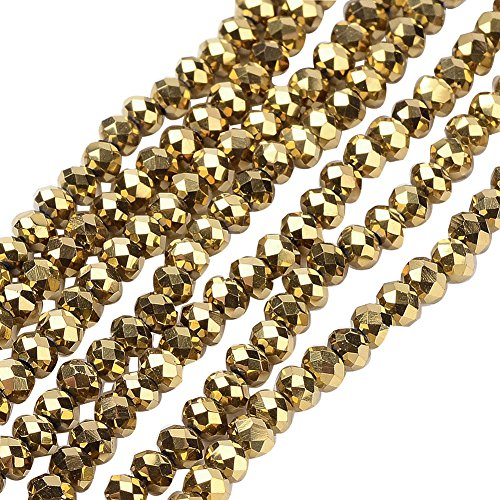 NBEADS 10 Strands Golden Plated Faceted Abacus Electroplate Glass Bead Strands with 3~3.5x2.5~3mm,Hole: 0.5mm,about 150pcs/strand ()