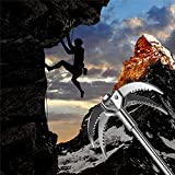Cyfie 4-Claw Sawtooth Grappling Hook, with 10m/33ft 8mm Auxiliary Rope Stainless Steel Claw Carabiner for Outdoor Activity EDC Tool in Your Bug Out Bag