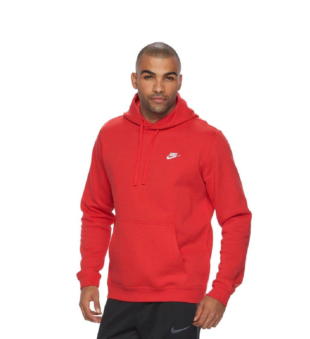 Nike Men's Club Fleece Pullover Hoodie (University Red White, Small)