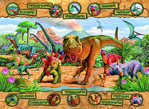 Ravensburger Dinosaurs - 100 Piece Jigsaw Puzzle for Kids – Every Piece is Unique, Pieces Fit Together Perfectly by Ravensburger
