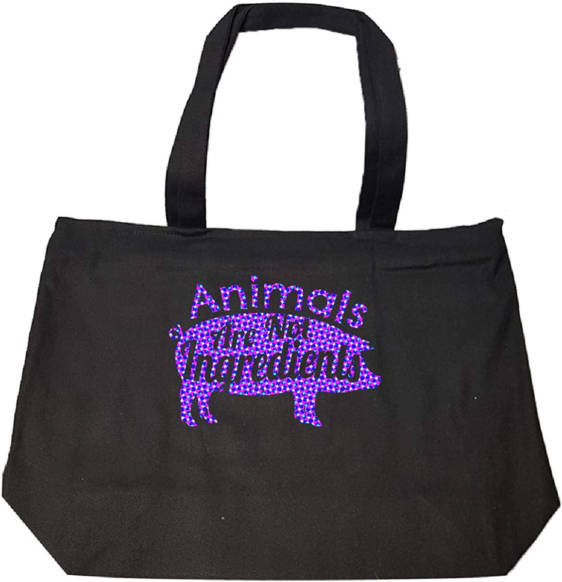 Tote Bag With Zip Animals Are Not Ingredients Purple