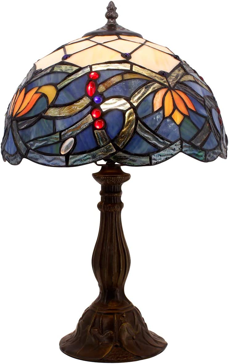 Tiffany Table Lamp Stained Glass Lotus Style Table Lamps Height 18 Inch for Living Room Antique Desk Beside Bedroom with Antique Style Zinc Base S220 WERFACTORY
