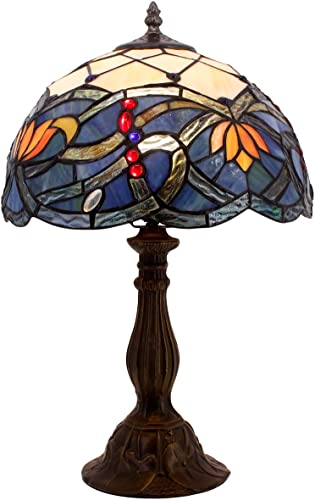 Tiffany Table Lamp Stained Glass Lotus Style Desk Night Reading Light W12H18 Inch S220 WERFACTORY LAMPS Parent Lover Friend Kids Living Room Bedroom Coffee Bar Study Desk Beside Antique Art Craft Gift