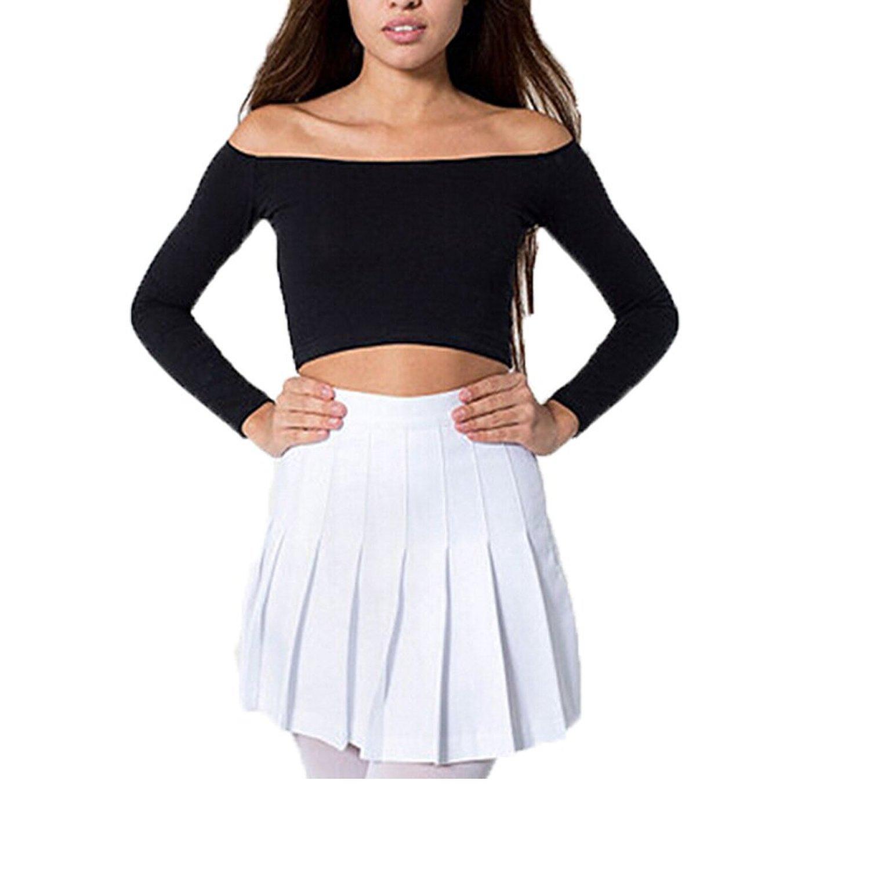 MIXMAX Women High Waist Pleated Mini Tennis Skirt (Small, White)