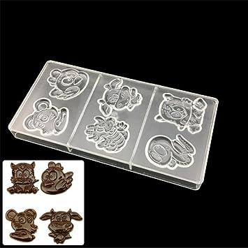 Vak Zodiac Tiger ganado 6 celdas policarbonato Chocolate Mold, plástico molde para Chocolate, caramelos