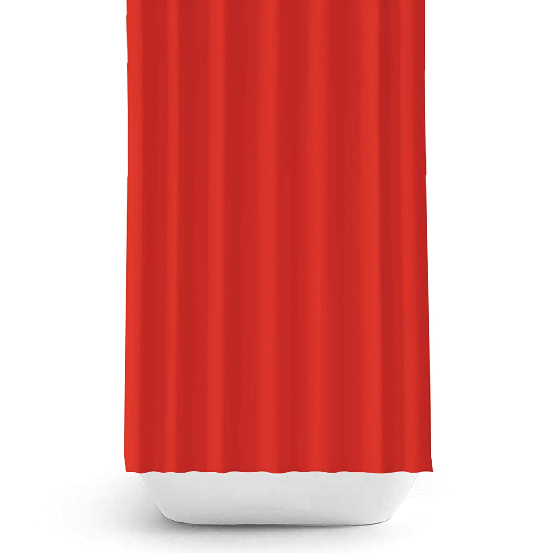 Tenda per doccia in tessuto rosso extra largo 240 cm e extra lunga 200 cm con bordo rinforzato, Poliestere, Red, Width 240 x Long 200CM Beytug BS0010-red-240