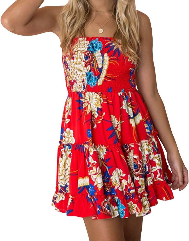 Zyyfly Women Sexy Strapless Empire Waist Ruched Dress Flowy Ruffle Floral Dress,Red Floral#1,Medium