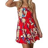 Zyyfly Women's Strapless Floral Bohemian Casual Mini Beach Dress Cover-ups Dress