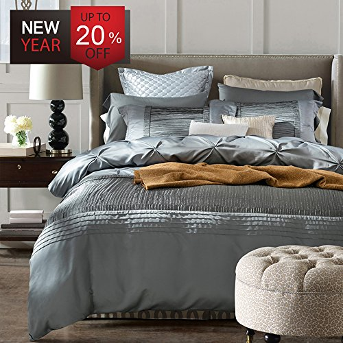 Luxury Duvet Cover Set King Size European Style Vintage Solid Grey Bedding Set with 2 Pillow Sha ...