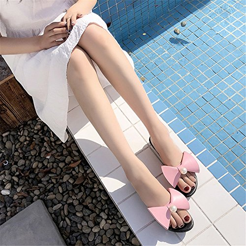 Sauvage Taille Sauvage Pantoufle 36 2 féminin Yiwuhu Bow Rose Rose Plat Mot EU avec Confortable Couleur 3 gIwYWPx8q