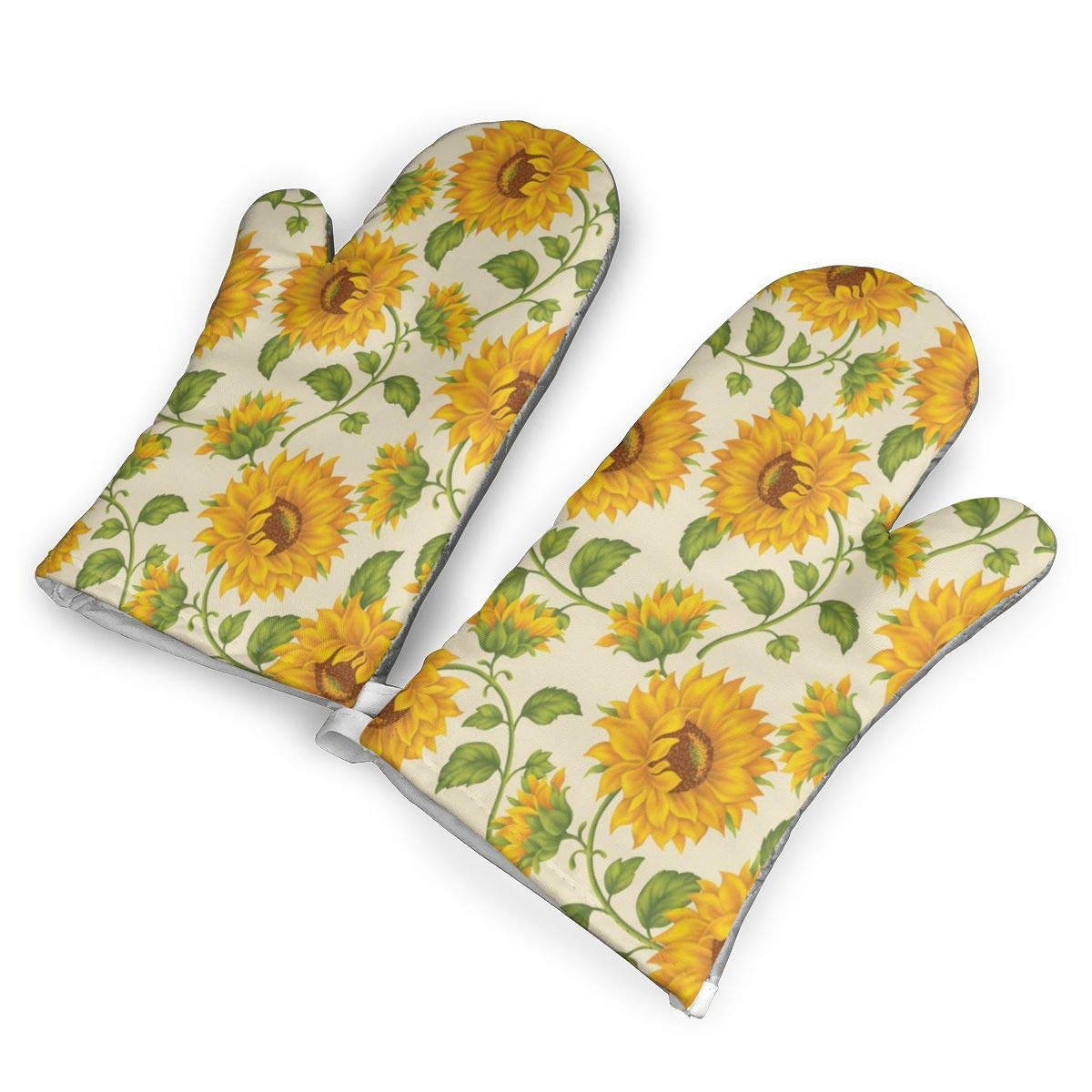 Feederm Sunflower Print Oven Mitts,Professional Heat Resistant Microwave Oven Insulation Thickening Gloves Baking Pot Mittens Soft Inner Lining Kitchen Cooking