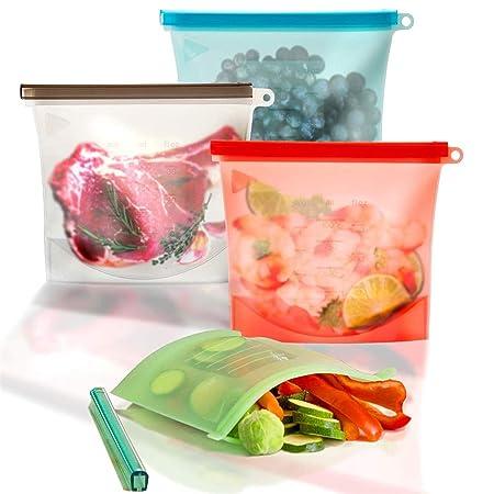 Silicona Bolsas de almacenamiento de alimentos reutilizables, 4 ...