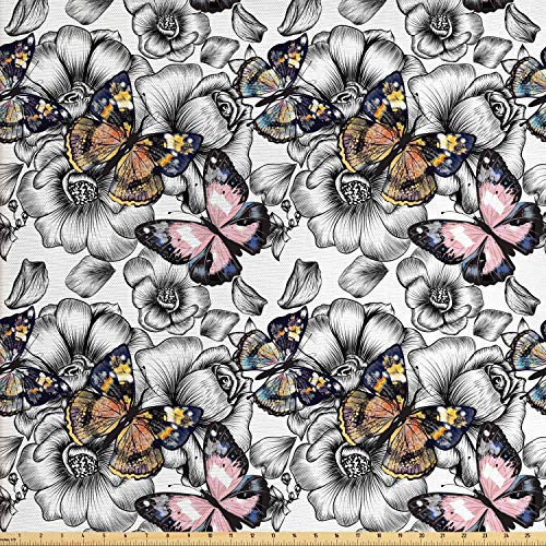 Ambesonne Butterfly Fabric by The Yard, Cute Monarch Butterflies on Hand Drawn Flowers Nostalgic Retro Style Pattern, Decorative Fabric for Upholstery and Home Accents, 1 Yard, Multicolor