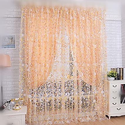 dining room window curtains gold wpkira print sheer window curtains floral curtain panels drapes for dining room amazoncom