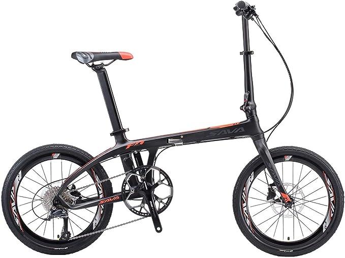 SAVANE Bicicleta Plegable Carbono, Z1 Bicicleta Plegable de 20 Pulgadas Bicicleta Plegable portátil Mini Bicicleta Plegable City con Sora de 9 velocidades y Freno de Disco hidráulico: Amazon.es: Deportes y aire libre
