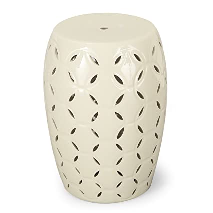 Charmant Adeco Indoor Outdoor Garden Ceramic Stool Accent Table (White)