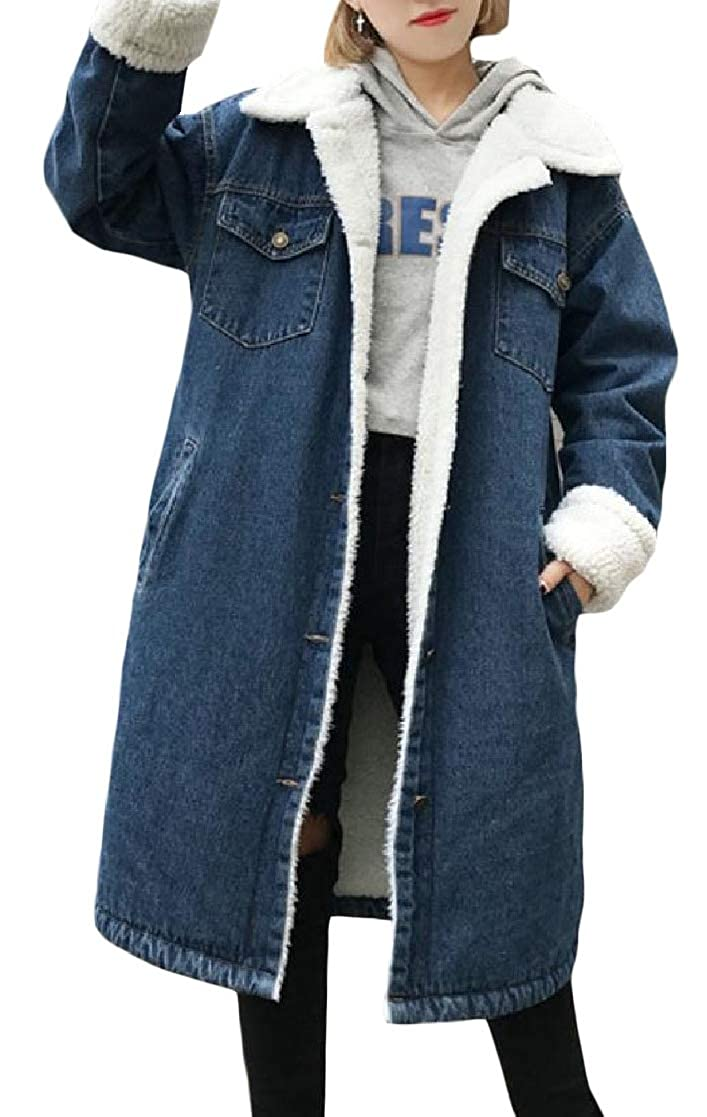 YUNY Womens Loose Button Down Pockets Lapel Velvet Mid Long Thick Outwear Coat Dark Blue S