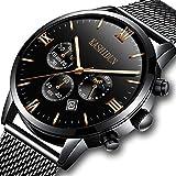 KASHIDUN Men's Watches Luxury Sports Casual Quartz Wristwatches Waterproof Chronograph Calendar Date Black Color