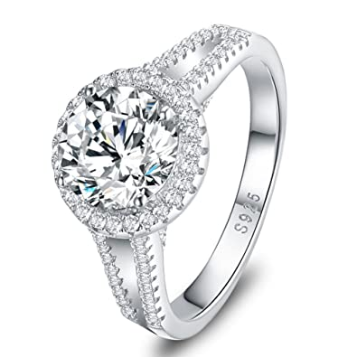 84b6e37da6cfc Mozume 3ct CZ Engagement Ring 925 Sterling Silver Wedding Anniversary Halo  Solitaire Cubic Zirconia For Women