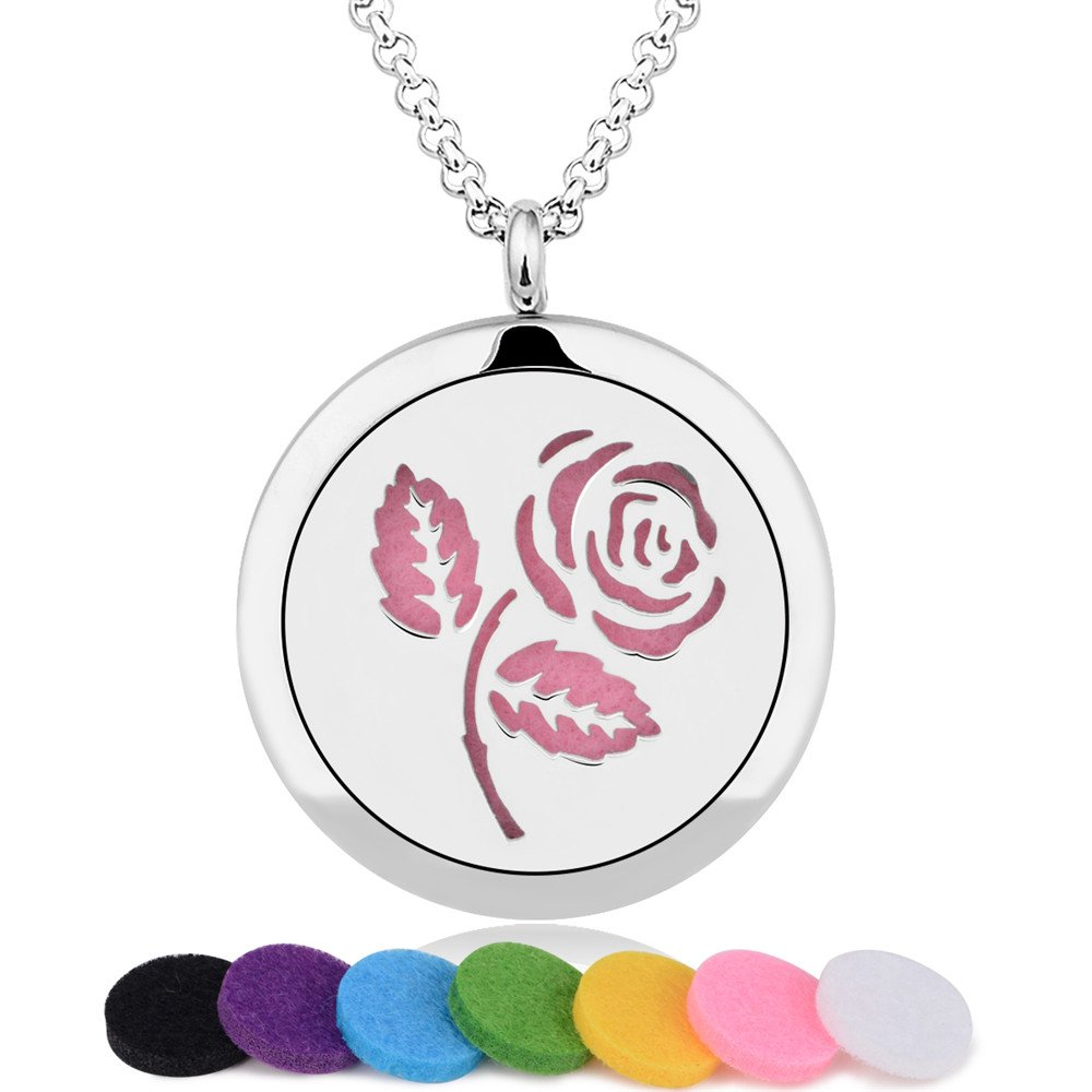 INFUSEU Rose Aromatherapy Essential Oil Diffuser Necklace Flower Design Locket Pendant & 12PCS Refill Pads with 28'' Stainless Steel Chain Express Love perfume Jewelry for women girls by INFUSEU (Image #3)