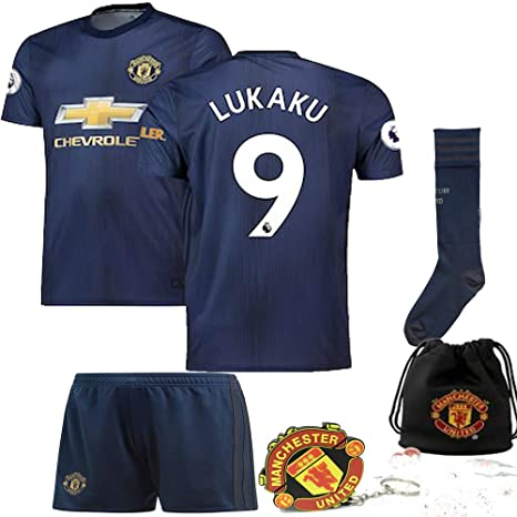 new product 99af4 cbe22 Manchester United Pogba Lukaku Alexis 2018 19 Kid Replica Jersey Kit :  Shirt, Short, Socks, Bag, PVC Key (Please Check Sizing Measurements!!!)