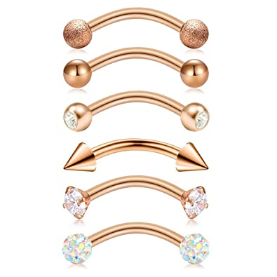 53f5bd9fecb Briana Williams 6pcs Stainless Steel Rook Daith Earrings Belly Lip Ring  Eyebrow Studs Cartilage Tragus Cubic Zirconia Barbell Body Piercing 8mm ...