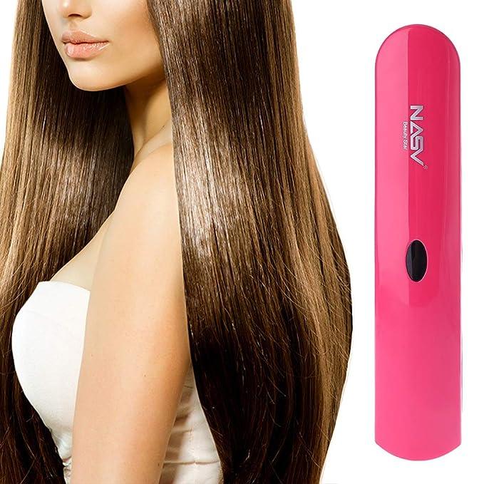 Senoow - Cepillo alisador de cabello eléctrico inalámbrico con USB, recargable: Amazon.es: Belleza